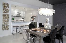 view in gallery dining table chairs exude cool textural contrast