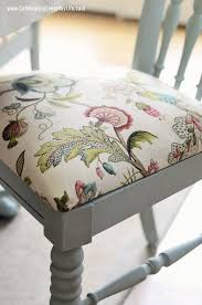 dining room chair in annie sloan chalk paint in duck egg and chair cushion in p kaufmann brissac in jewel