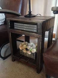 outstanding reclaimed wood industrial rustic end table dark walnut stain for dark wood end tables popular