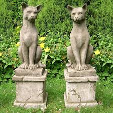 pair of majestic stone cats garden statues big garden statues