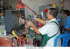tv repair shop. repair shop for televisions, surat, thailand, asia - stock image tv s
