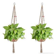 plant hanger macrame jute 4 legs plant holder with colored beads for indoor outdoor balcony ceiling patio deck round and square pots 2 pcs b0711x9clm