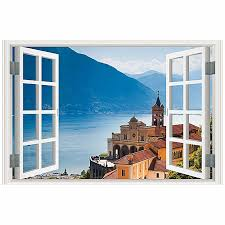 jummoon 3d full colour high definition nature scenery false faux window frame wall decals