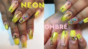 Acrylic Nails  Full Set Neon Ombre w/ Bling Nail Art Tutorial ...