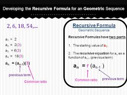 developing the recursive formula for an geometric sequence