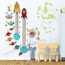 Baby Height Wall Chart Ourwarm Planets Rocket Wall Sticker Baby Height Growth Chart