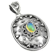 925 sterling silver natural multi color ethiopian opal pendant jewelry d21484