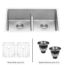 Ruvati Undermount Stainless Steel 30 In 5050 Low Divide Double