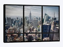 new york city skyline window view by icanvas 1 piece canvas wall art  on canvas wall art new york city with new york city skyline window view art print by icanvas icanvas