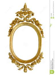 gold carved oval wood frame isolated royalty free stock photo