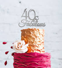40th Birthday Cake Topper Forty 40 Fabulous Cake Topper