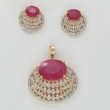 ruby designer pendant set