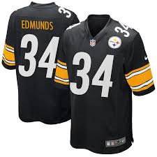 Edmunds Game 34 Black Terrell Jersey Steelers Pittsburgh