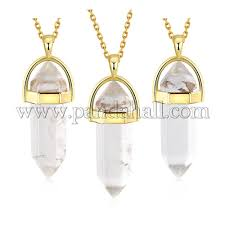 bullet natural crystal pointed pendant necklaces njew bb00024 06 1