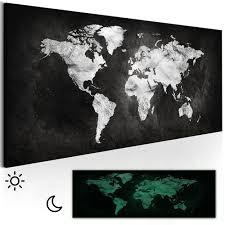 Details Zu Vlies Leinwand Bilder Weltkarte Schwarz Weiß Wandbilder Xxl Bild 3d Nachleuchte
