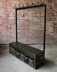 Industrial Coat Rack Bench