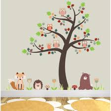 fox owls and woodland critters nursery wall stickers on wall art stickers nursery uk with fox and owls nursery wall stickers