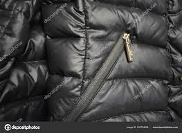 black stylish women s down winter jacket with a secret metal zipper in the form of genuine leather and gold forniture photo by dashaketti