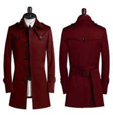 vogue men long overcoat single ted trench jacket peacoat leisure outwear