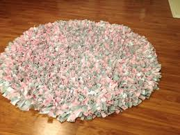 pink grey and white round 3 x 3 fleece rag rug gy pink rag rug