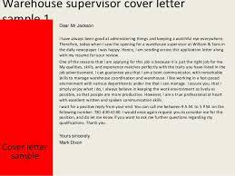 Warehouse Supervisor Cover Letter Example Warehouse Supervisor Cover Letter