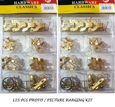 picture photo frame hanging hooks nails and wire eyes brass set 125 pcs