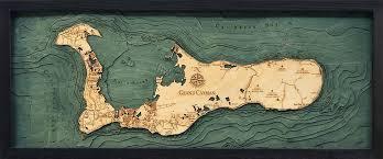 Grand Cayman Island 3 D Nautical Wood Chart 13 5 X 31