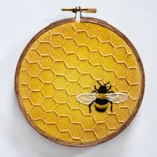honeybee honeycomb embroidery mixed media bumblebee hand