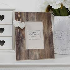 distressed wood and hearts photo frame 4 x 6