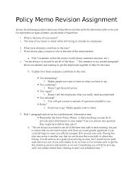 Policy Memo Revision Assignment Tecm 2700 Studocu