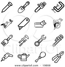 19808 Clipart Illustration Of A Collection Of Black And White Nail Shovel Saw Clasp Razor Rake Wrench Drill Oil Can Screwdriver And Pliers Tools Icons On A White Background tv wiring diagram,wiring wiring diagrams image database on generac smart transfer switch wiring diagram