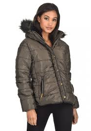 ax paris women quilted jacket fur hood on