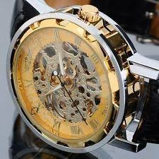 transparent watch fashion mens leather strap skeleton transparent mechanical sport wrist watch