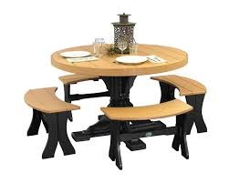 4 foot round table with picnic benches