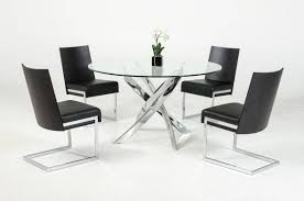 Vig Modrest Pyrite Round Glass Dining Table Black Chairs Set 5pcs