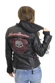 harley davidson womens scroll willie g skull reflective with studs 3 in 1 black leather jacket