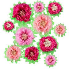 Tissue Paper Flower Decor Gejoy 12 Pieces Pink Paper Flower Diy Crafting Kit Wall Decor Tissue