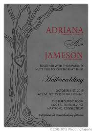 Halloween Wedding Invitations Modern Gray Love Tree Halloween Wedding Invitation Halloween