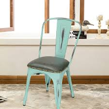 tolix style pu cushion top metal dining chairs set of 2 aqua blue