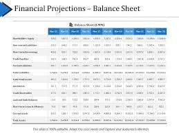 Balance Sheet Projections Financial Projections Balance Sheet Presentation Portfolio