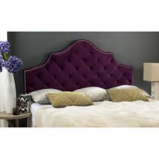 Bet I could cover mine to look like this Safavieh Arebelle Steel Blue Tufted  Headboard - Silver Nail Head (Queen)
