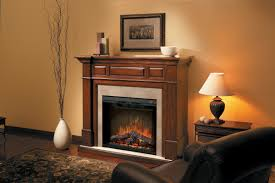 astounding wall mounted fireplace ideas by brown wooden fireplace frame on the laminated wooden flooring near