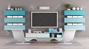 Modern Living Room Tv Furniture Modern Living Room With Tv Wall Unit Rendering Stock Photo