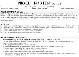 Pharmacy Resume Samples Pharmacist Cv Sample