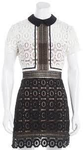 Self Portrait Size Chart Self Portrait Black White Crochet Sheath Dress Size 4
