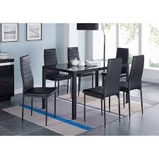 ids home 7 pieces modern gl dining table set faxu leather with 6 chairs black