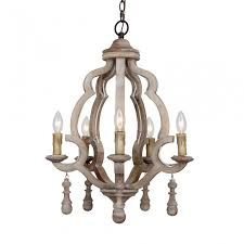 more views caister 5 light candle wooden chandelier distressed antique white