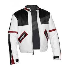 chaser box mens white motorcycle leather jacket
