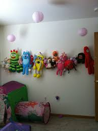 Organize stuffed animals in children's room. I finally put all the toys up  in my