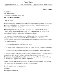 Email Cover Letter Sample For Resumes Creative Director Cover Letter Sample